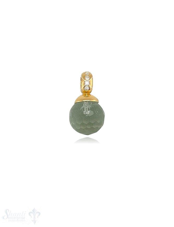 Kugel Anhänger Silber 10 mm facettiertem Stein Oese mit Zirkonia ID 4 mm Stein-Grösse und Farbe kann variieren