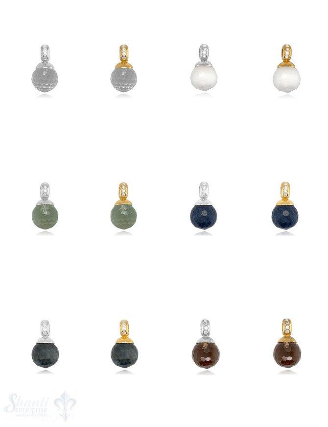 Kugel Anhänger Silber 12 mm facettierter Stein Oese mit Zirkonia ID 4 mm Stein-Grösse und Farbe kann variieren