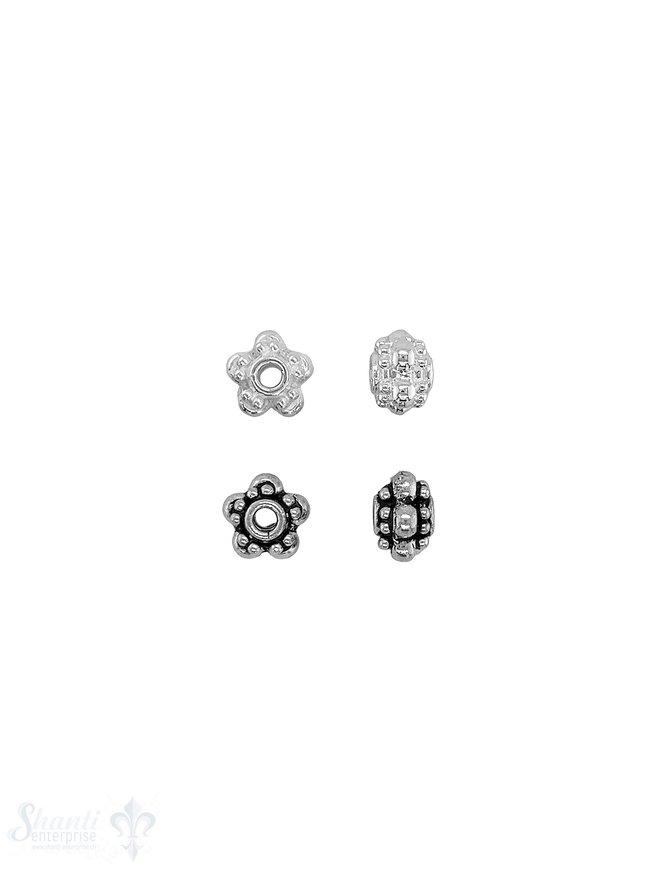 Blumen Element 9x6 mm 3-reihig gepunktet mittlere mit grossen Tupfen Slber geschwärzt  ID 2.2 mm 1 Pack = 4 Stk. ca. 6 gr.