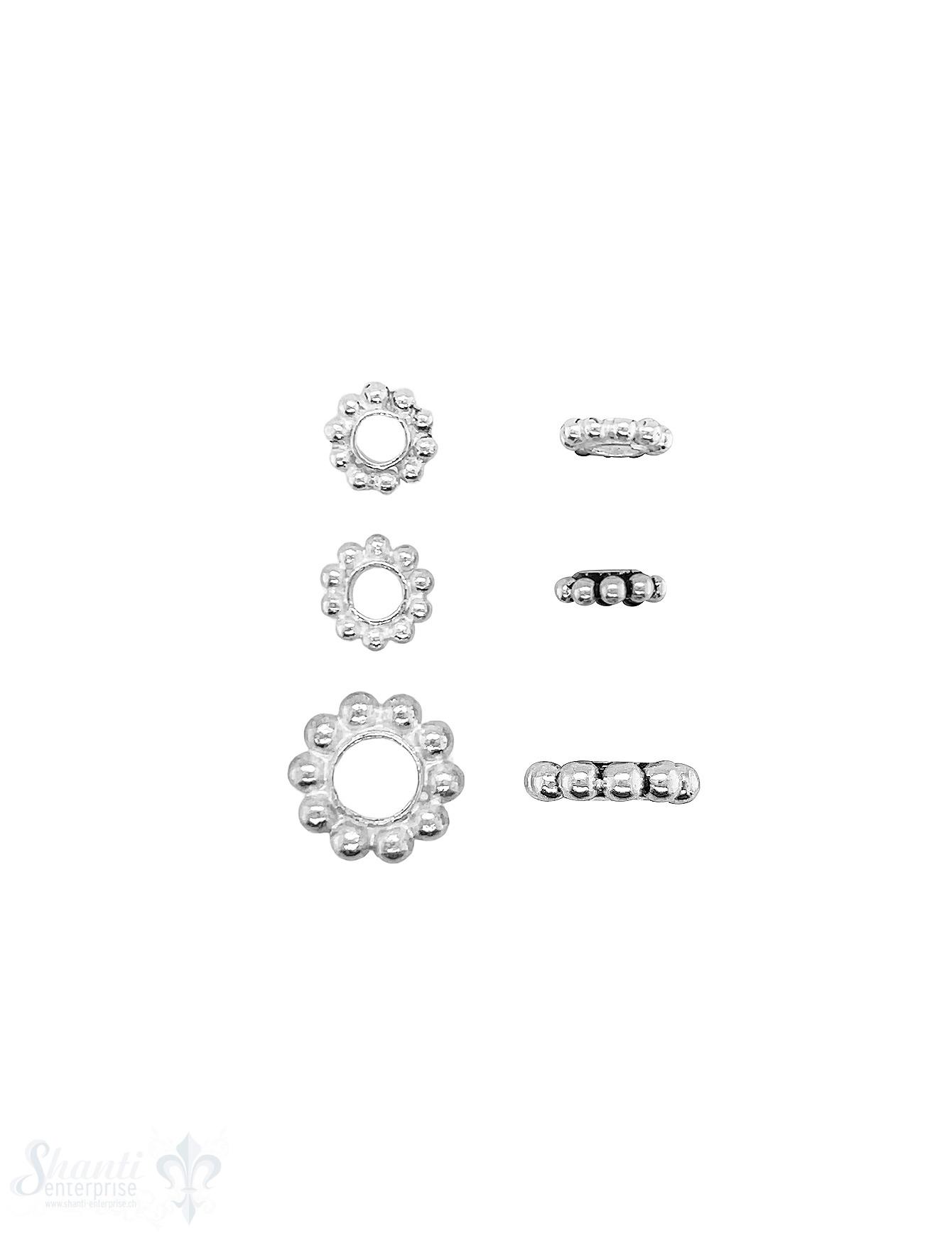 Blumen Element Kugelkranz flach Silber leicht