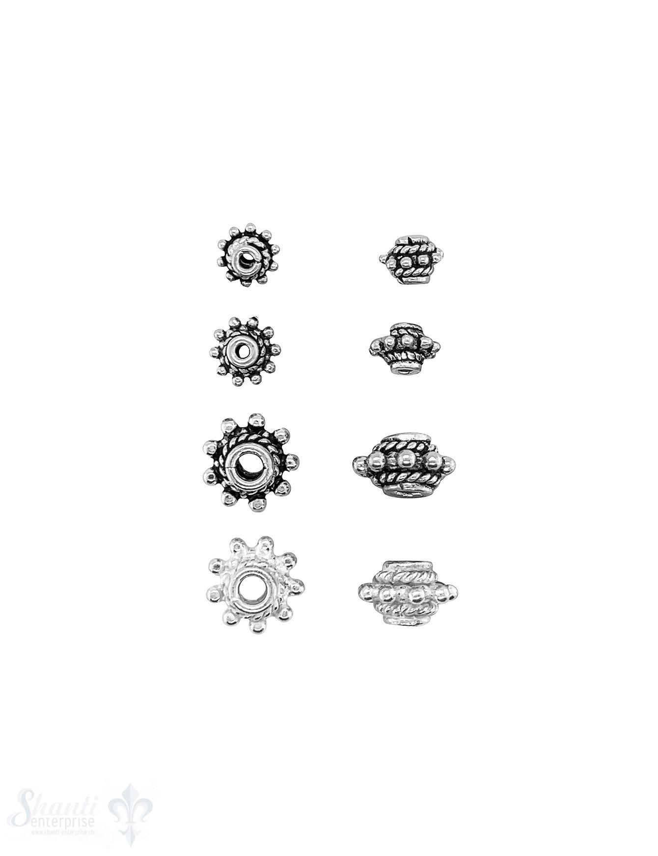 Blumen Element  Punkte erhöht verziert mit Rand Silber