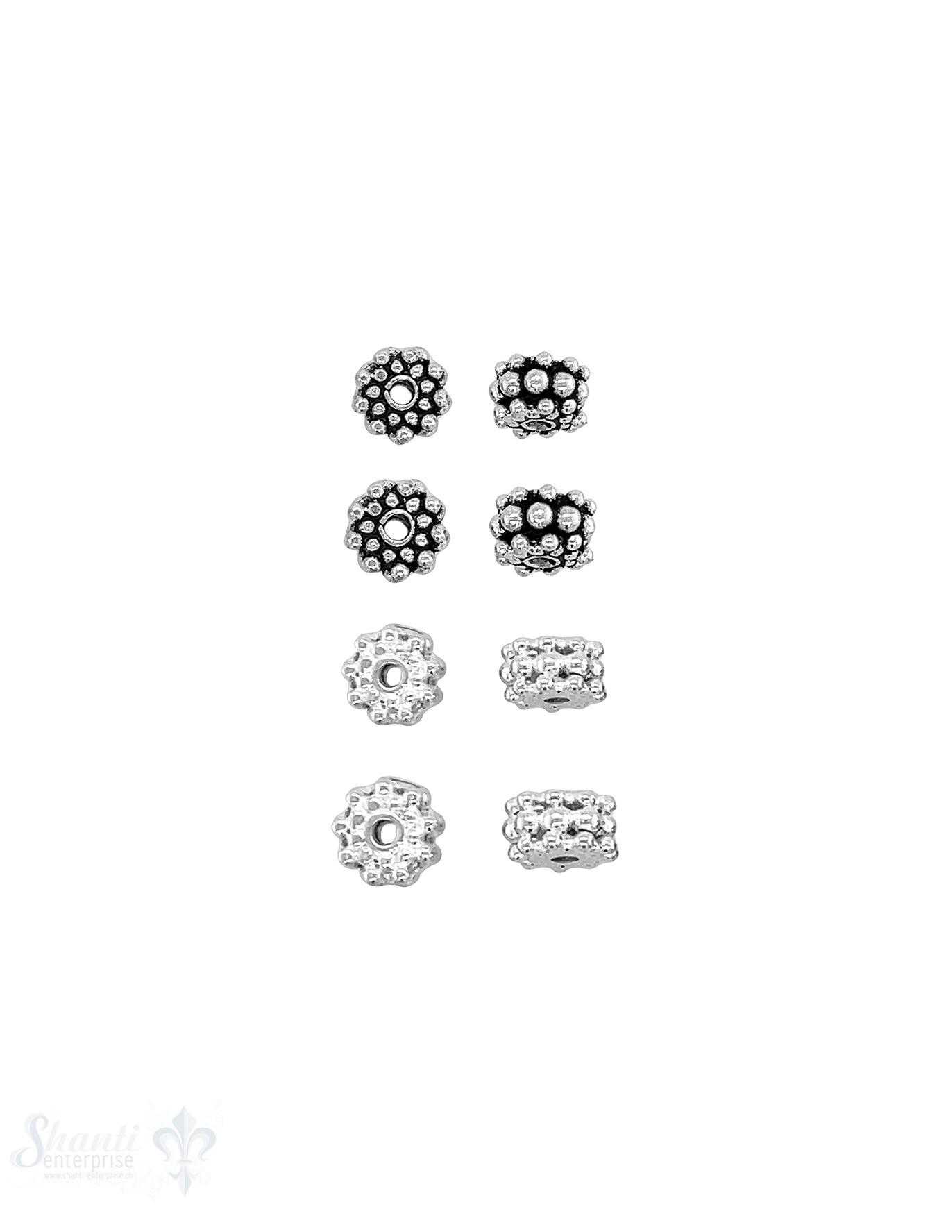 Rondellen Element 3-reihig gepunktet Silber