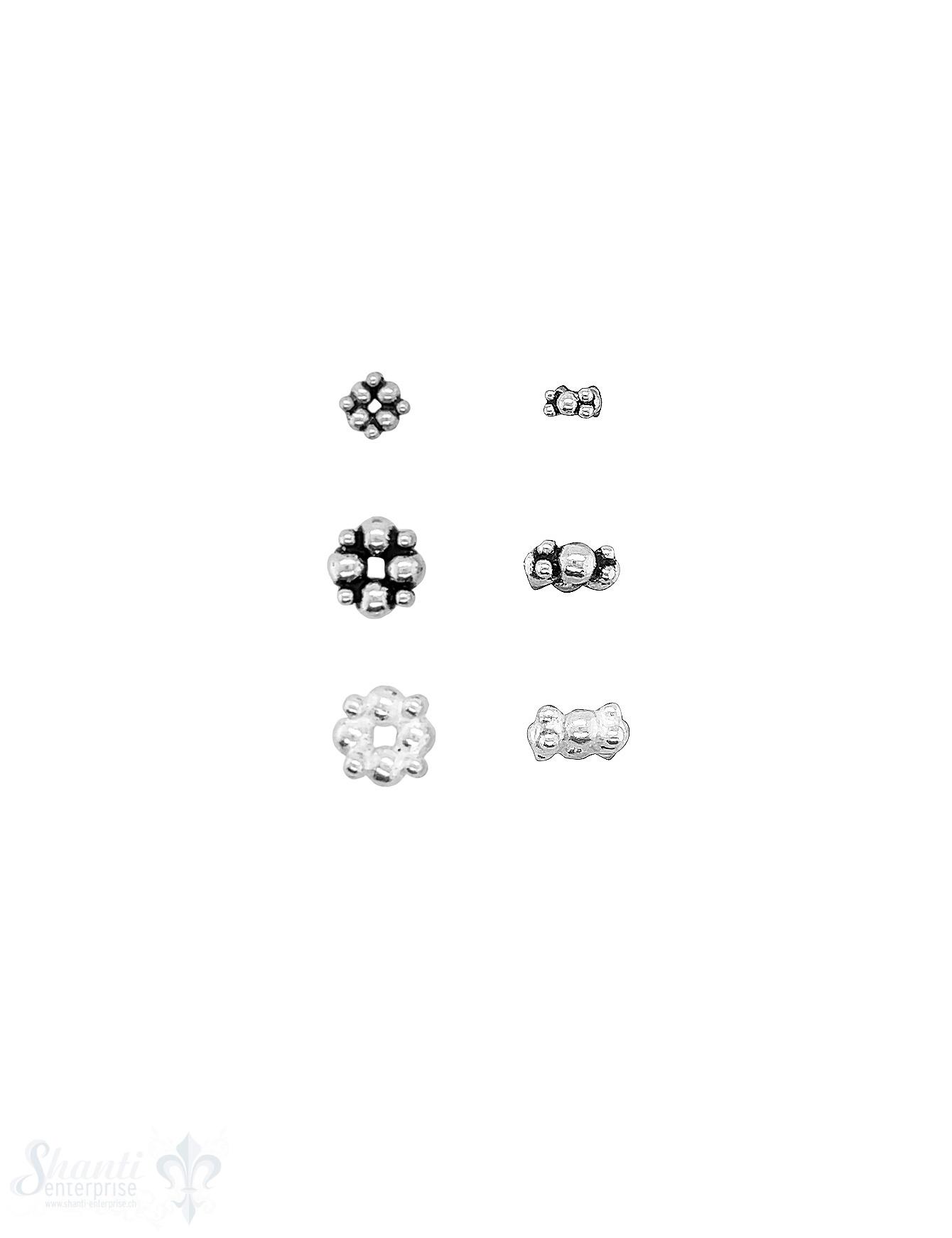 Blumen Element  abwechslungsweise mit kleinen und grösseren Punkten Silber