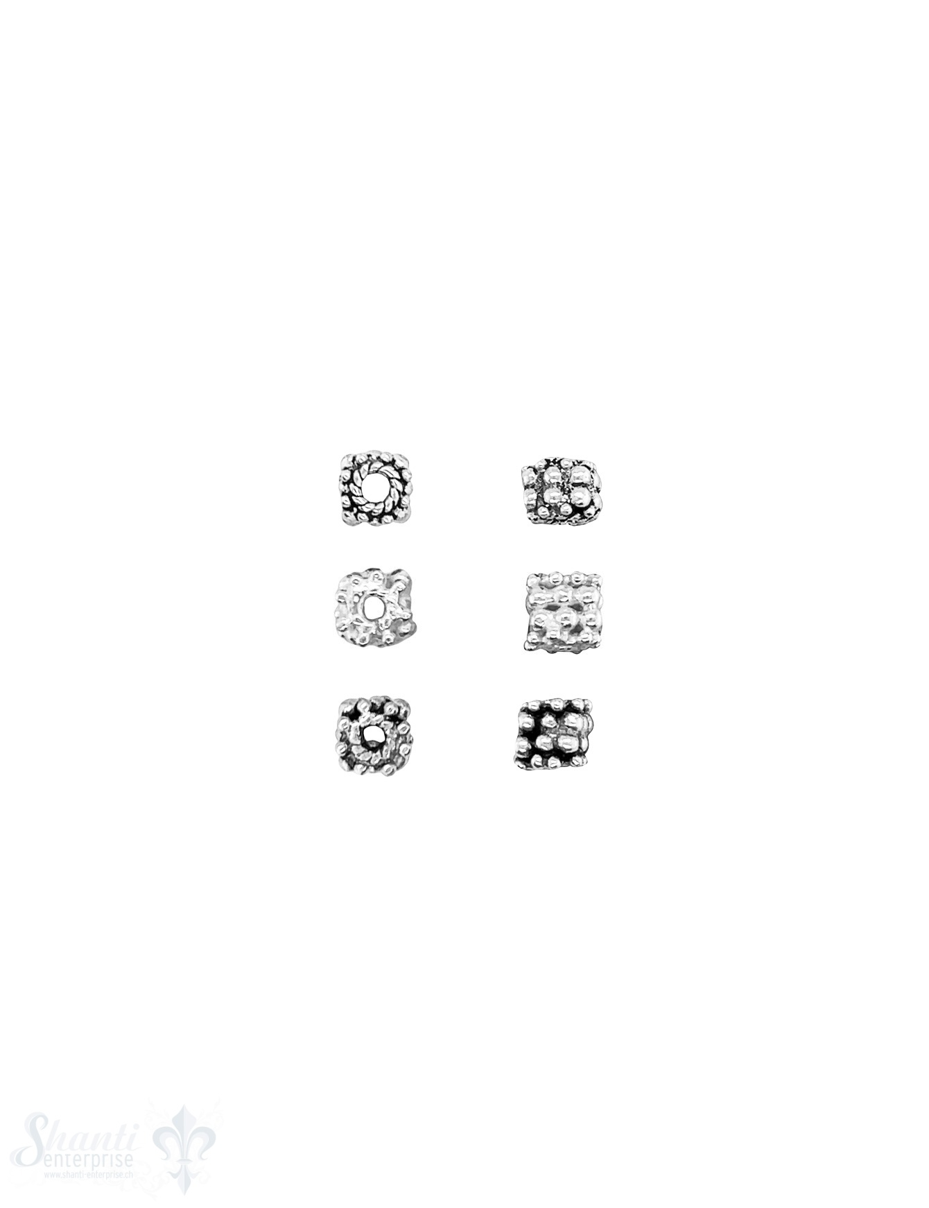 quadratisches Element  4 reihig gepunktet Silber