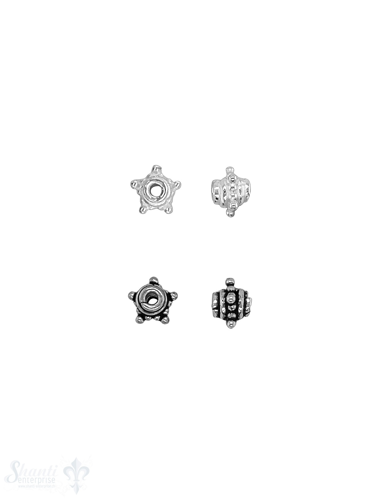Stern Element 6x 4 mm gepunktet mit Rand Silber