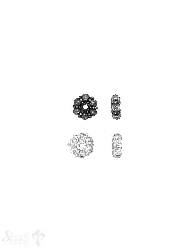 Blumen Element 8x 3 mm strahlenförmig gepunktet Silber geschwärzt  ID 1.3 mm 1 Pack = 5 Stk. ca. 5 gr
