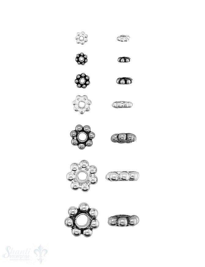 Blumen Element  Kugelkranz flach Silber