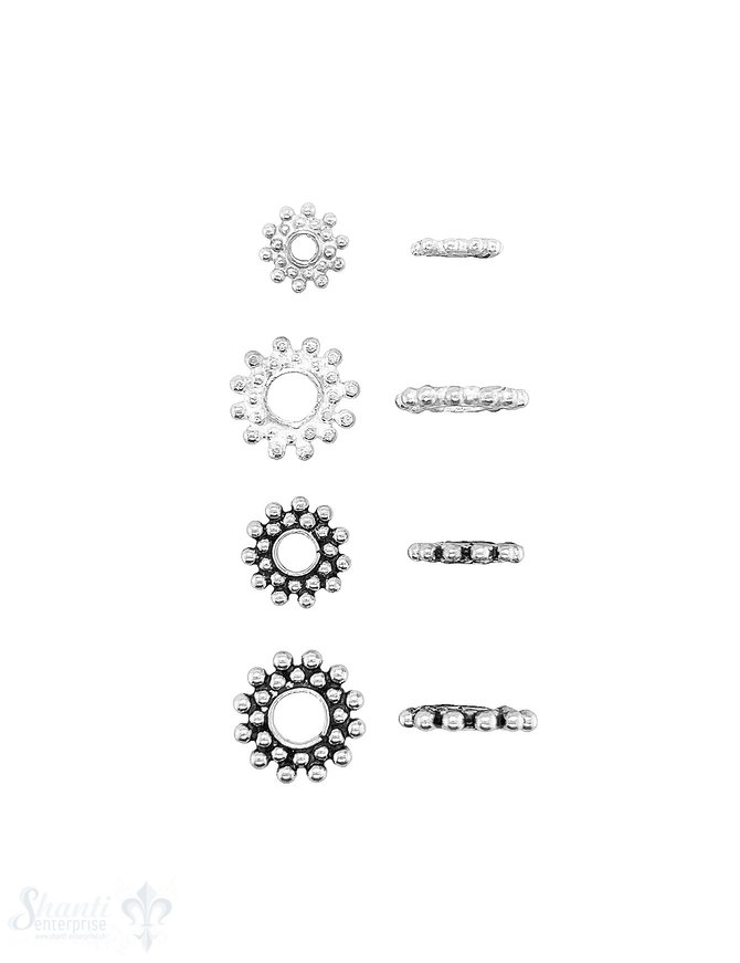 Blumen Element  Kugelkeis 2-reihig versetzt Silber