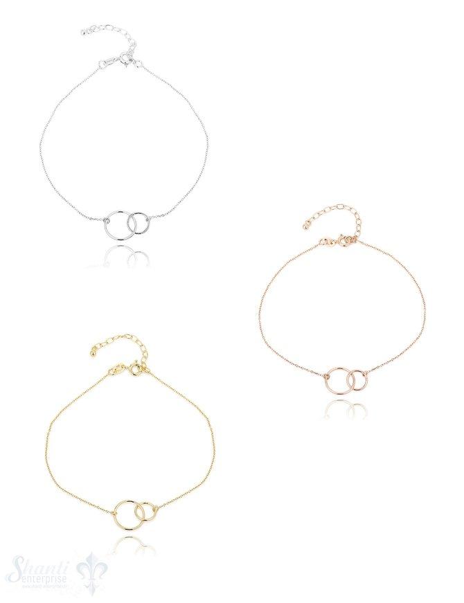 Fussketteli Silber Anker mit 2 Ringen 22-26cm Grössen verstellbar Ringe 13+9 mm Federringschloss ec