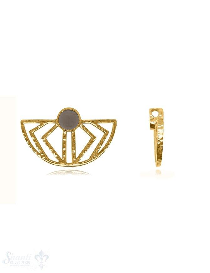 Anhänger Amulett 24x38 mm Silber gehämmert durchbrochen halbrund Azteken Stein 8 mm Loch seitl. für Kette