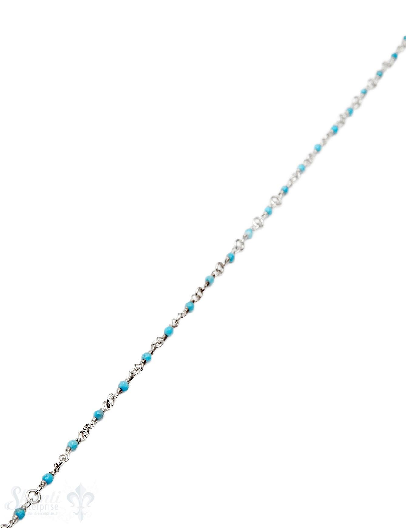 Rosenkranzkette Türkis gepresst himmelblau 2 mm ru
