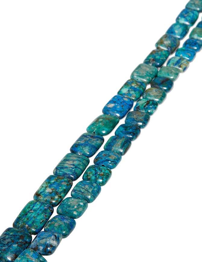 Lapis-Chrysokoll Strang blau-grün poliert AA