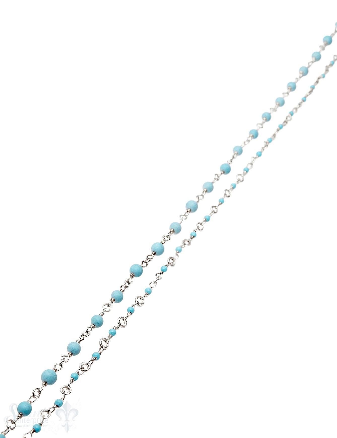 Rosenkranzkette Türkis gepresst himmelblau rund poliert Silber Abschnittlänge wird angepasst Preis per m