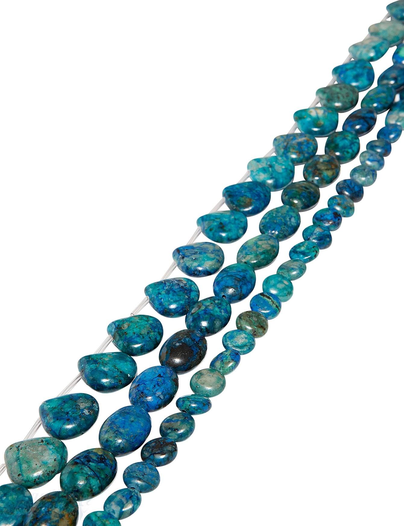 Lapis-Chrysokoll Strang blau-grün