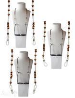 Brillenkette 70 cm Rosenholz mit Prehnit mit Gummischlaufen für Brille