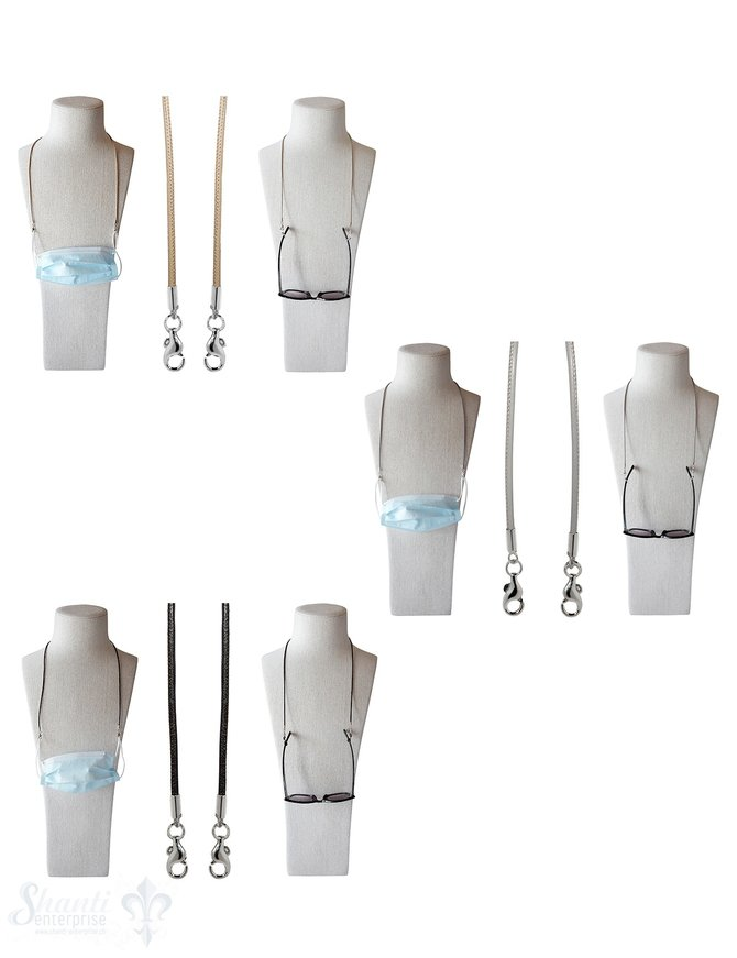 Brillen- oder Maskenkette 70 cm Leder 3 mm mit 2 Karabiner Silber und Gummischlaufen