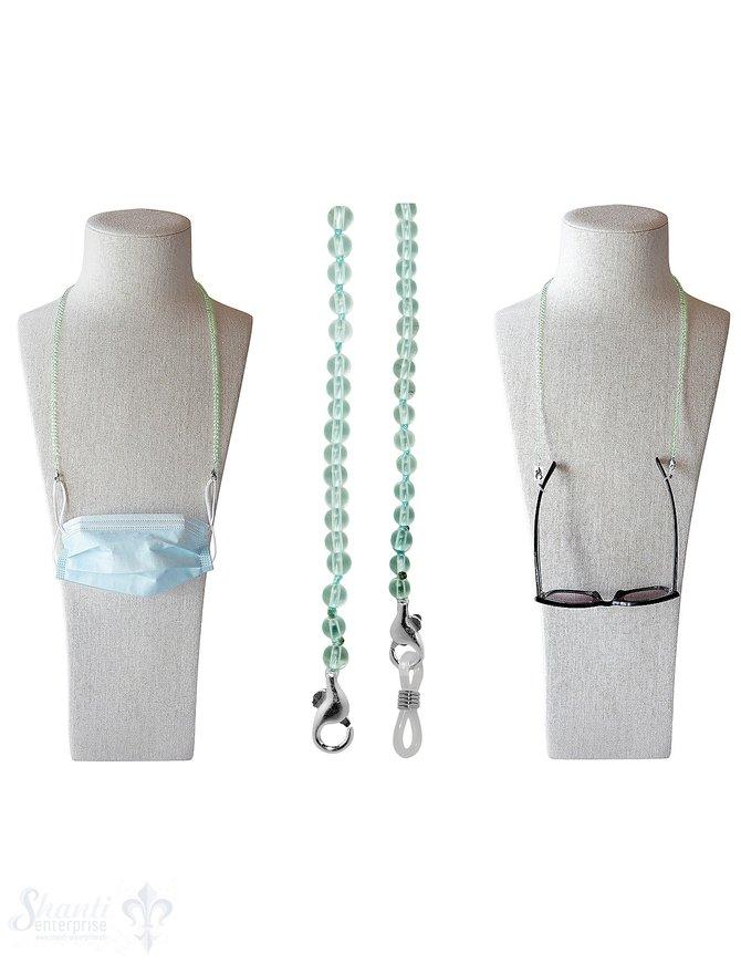 Brillen- oder Maskenkette 70 cm mit 2 Karabiner Silber und Gummischlaufen