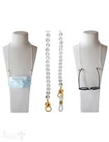 Brillen- oder Maskenkette 70 cm mit 2 Karabiner Silber gelb vergoldet und  Gummischlaufen