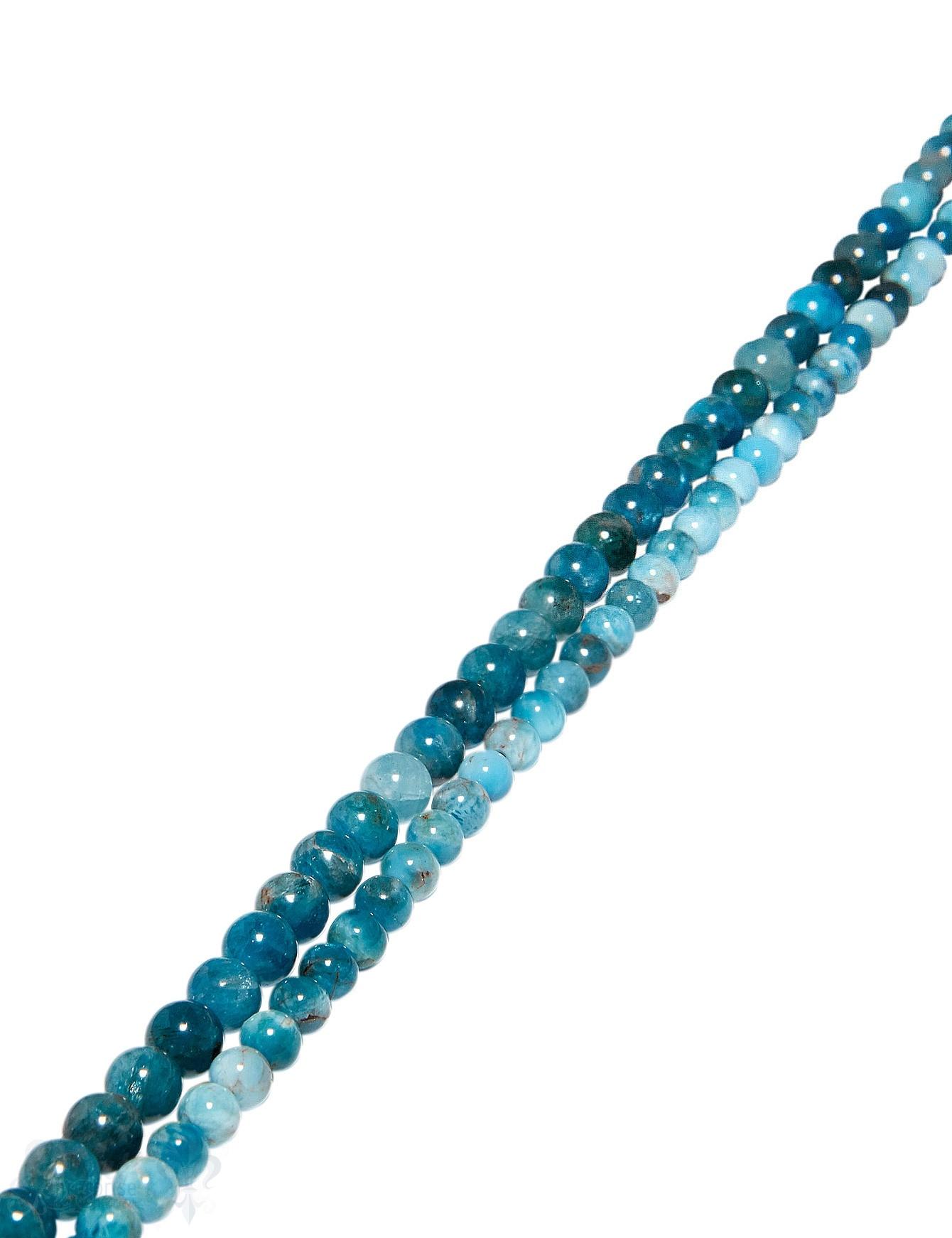 Apatit Strang blau poliert Kugeln rund eingefärbt