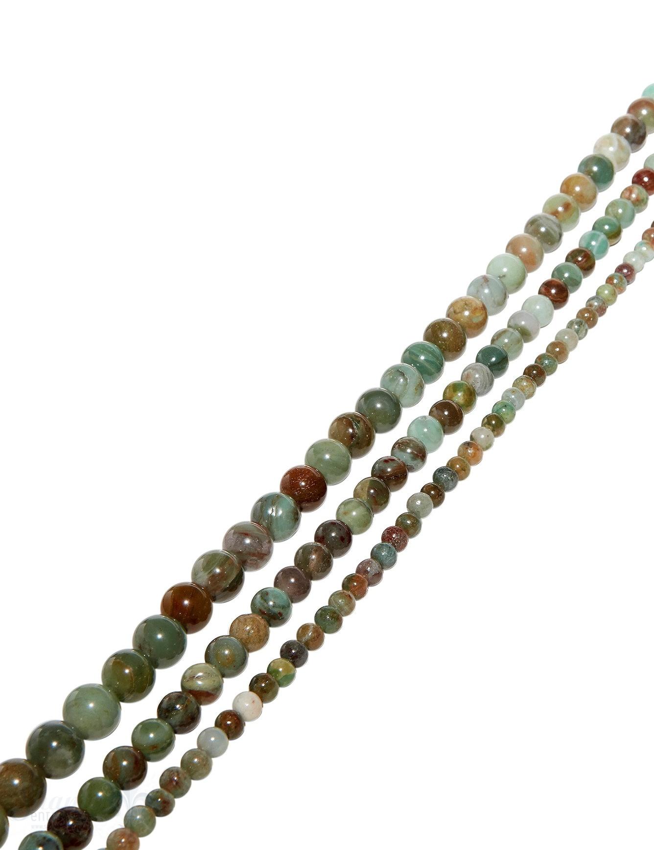 austr. Prasem Strang grün-braun poliert Kugeln AAA