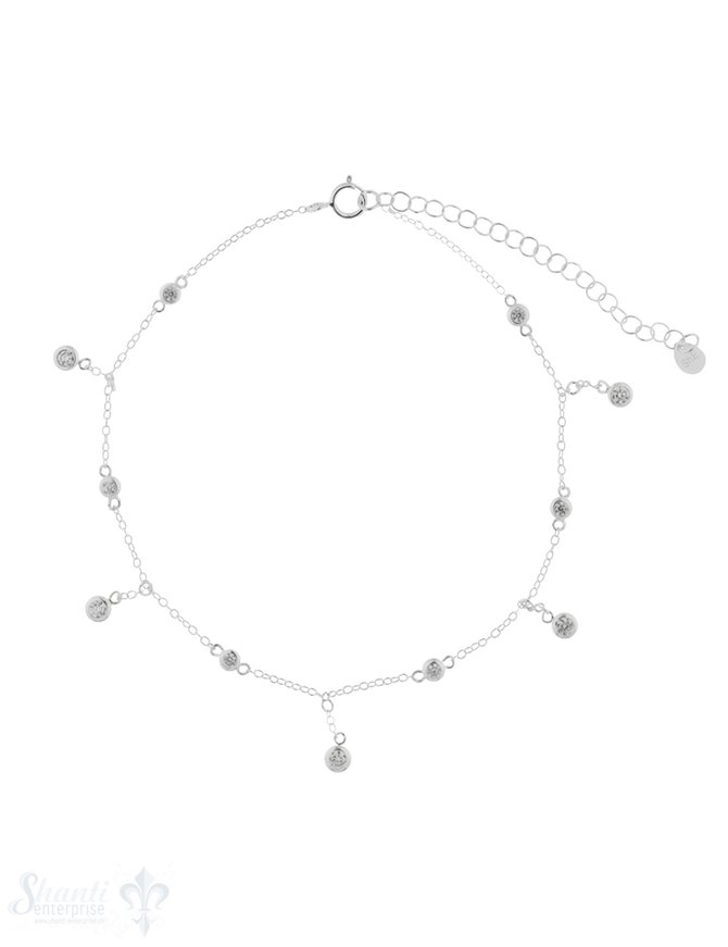 Fussketteli Silber Anker mit Zirkonia kurz/lang 21,5-26,5 Grössen verstellbar Federringschloss
