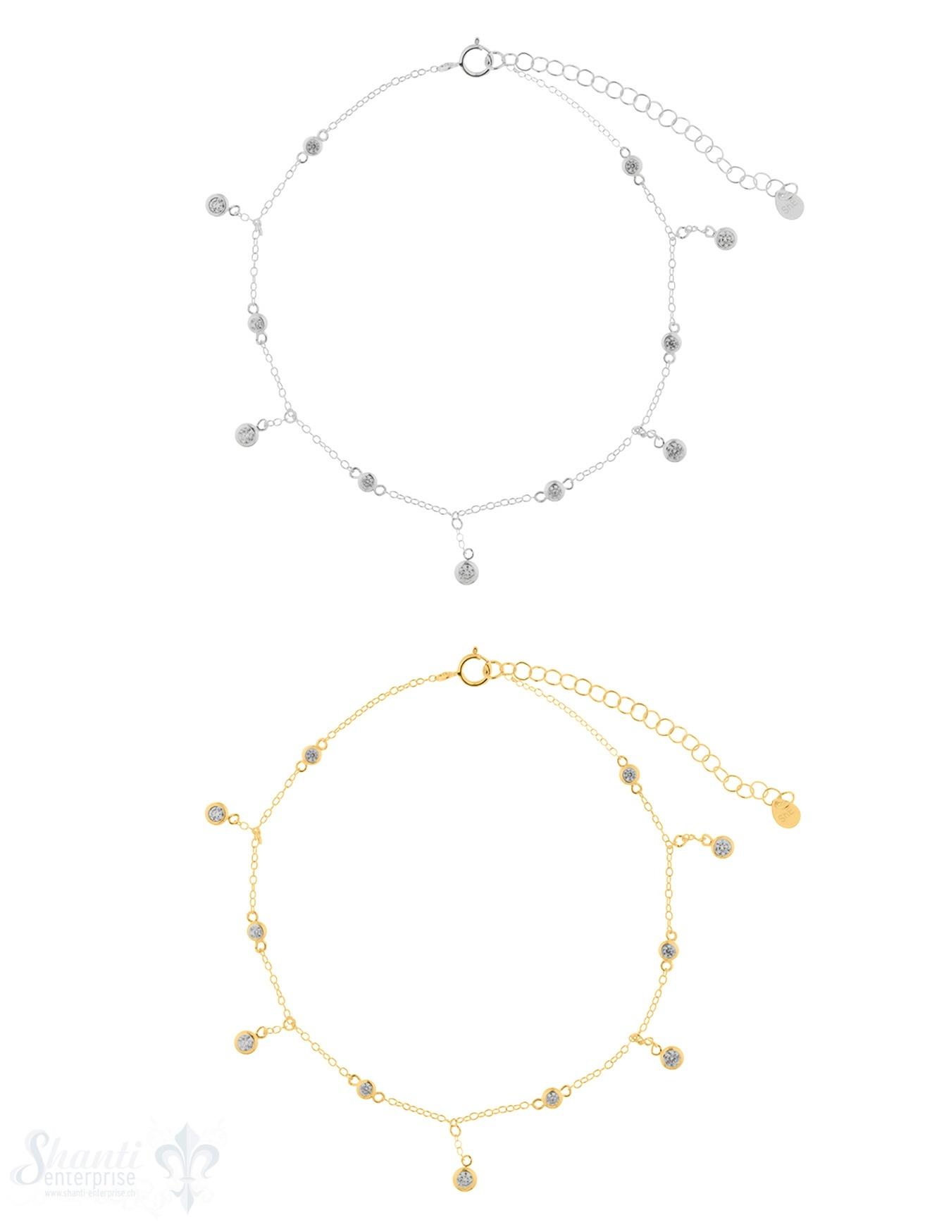 Fussketteli Silber Anker mit Zirkonia kurz/lang
