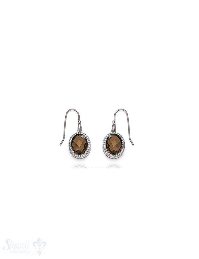 Ohrhänger Silber rhodiniert 13x11mm Zirkonia braun facettiert oval mit Zirkonia weiss eingefasst mit Bügel