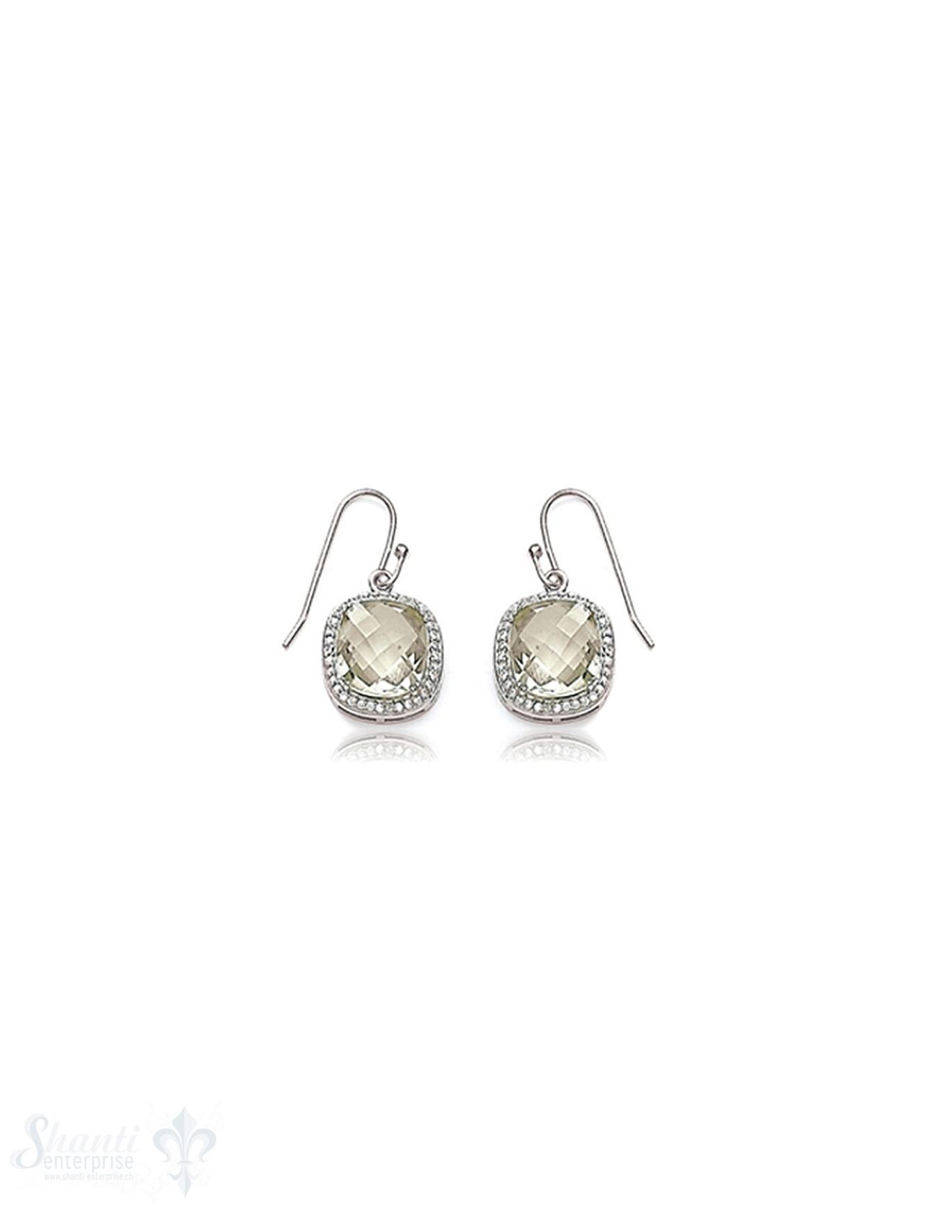 Ohrhänger Silber rhodiniert 13x13 mm Zirkonia