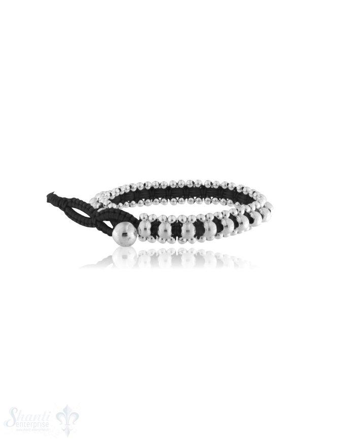 Viskose Armband 8 mm breit mit Silber Kugeln & Knopfverschluss