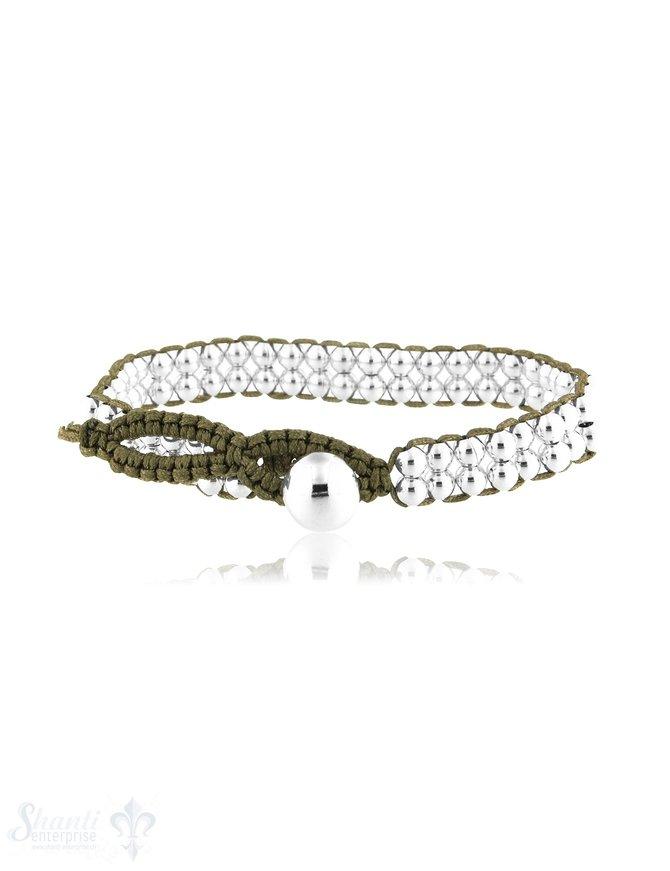 Viskose Armband 7,3 mm breit Silber mit Knopfverschluss