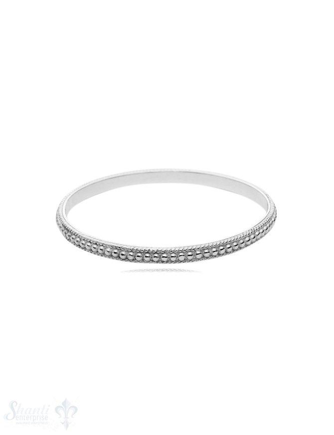 gepunktet & verdrehter Armreif massiv 5 mm breit innen flach Silber