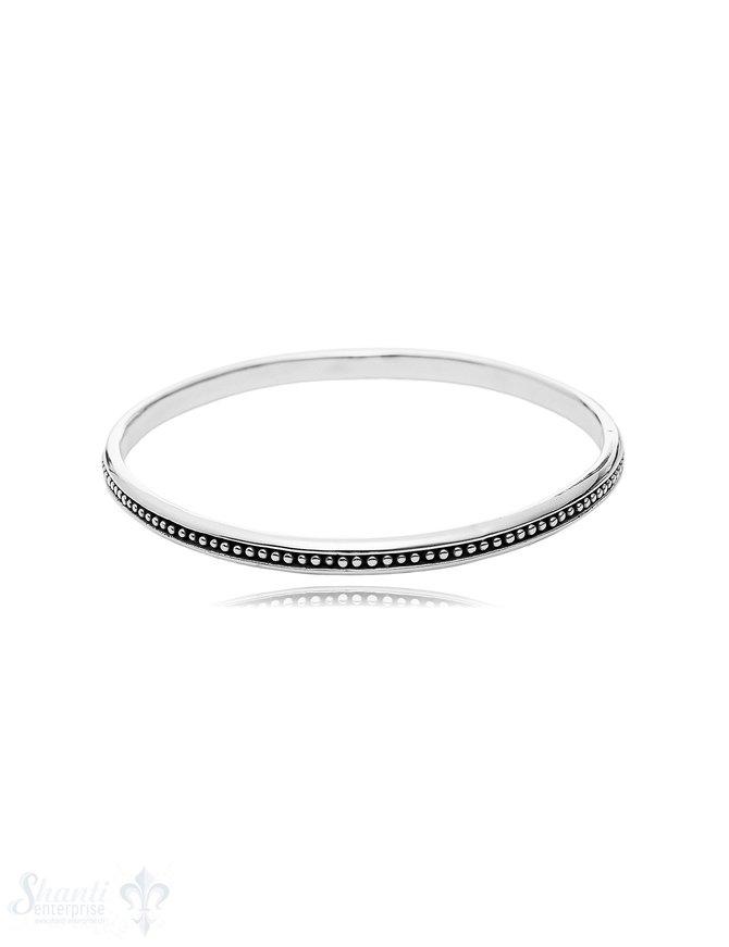 gepunkteter Armreif eingemittet geschwärzt 4 mm breit innen flach massiv Silber