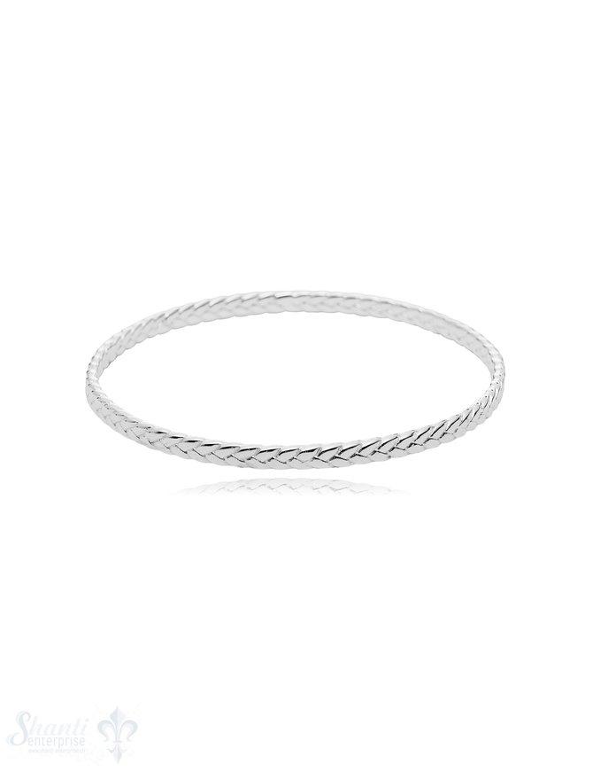gezopfter Armreif 4 mm breit innen flach Silber