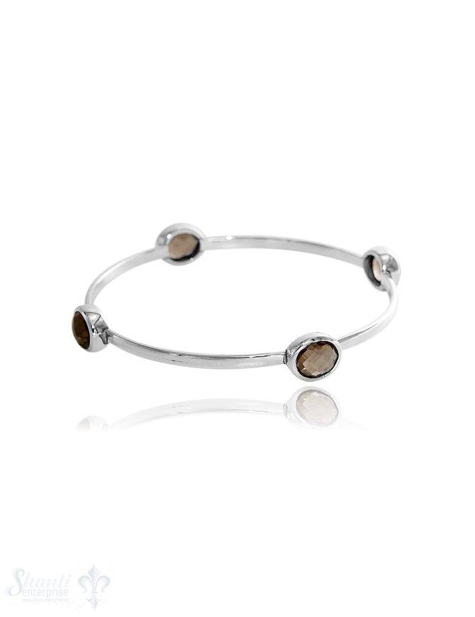 Armreif polierte mit ovalen Steinen  3,2 mm breit innen flach Silber Steine 8x11 mm