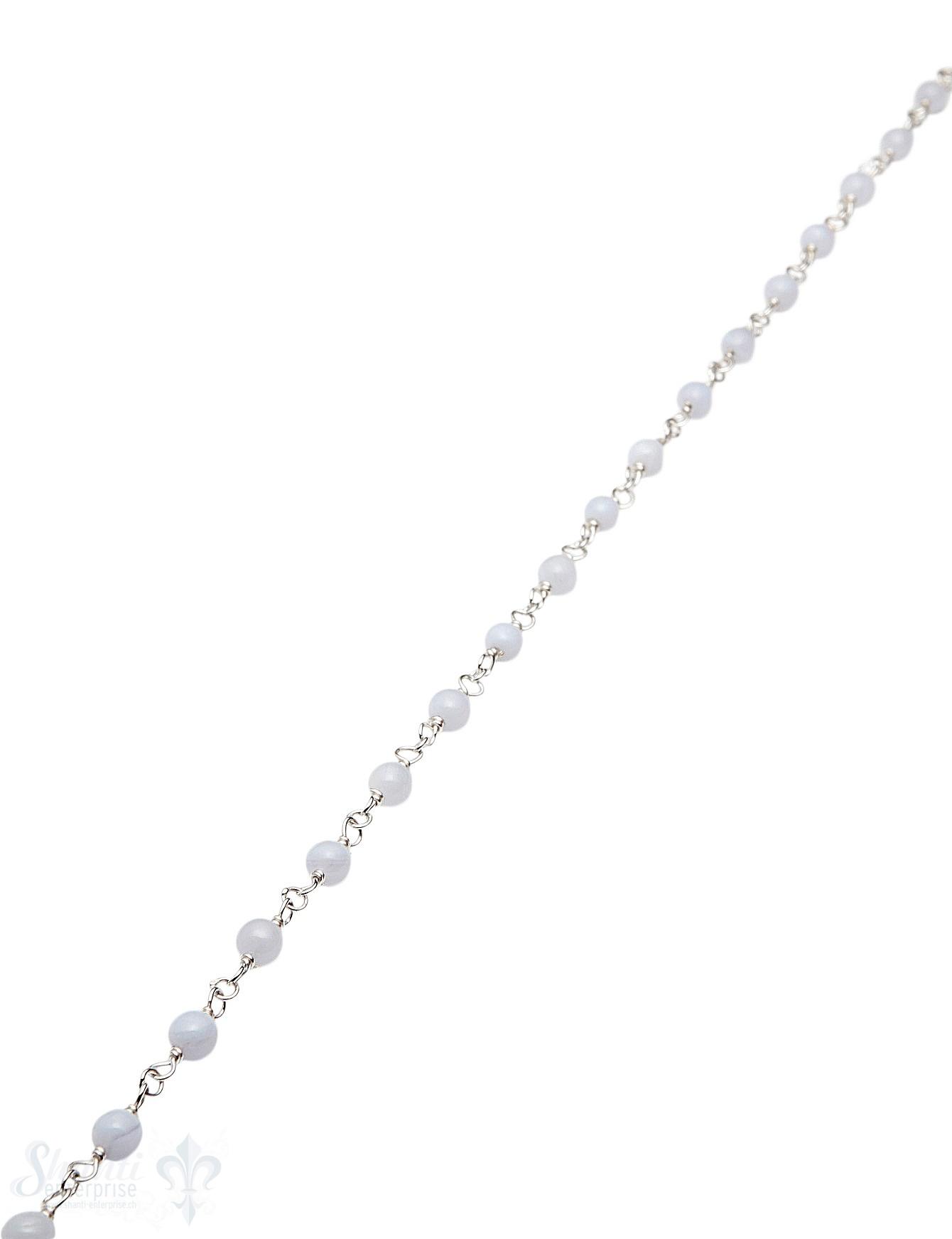 Rosenkranzkette Chalcedon hellblau 4 mm rund polie