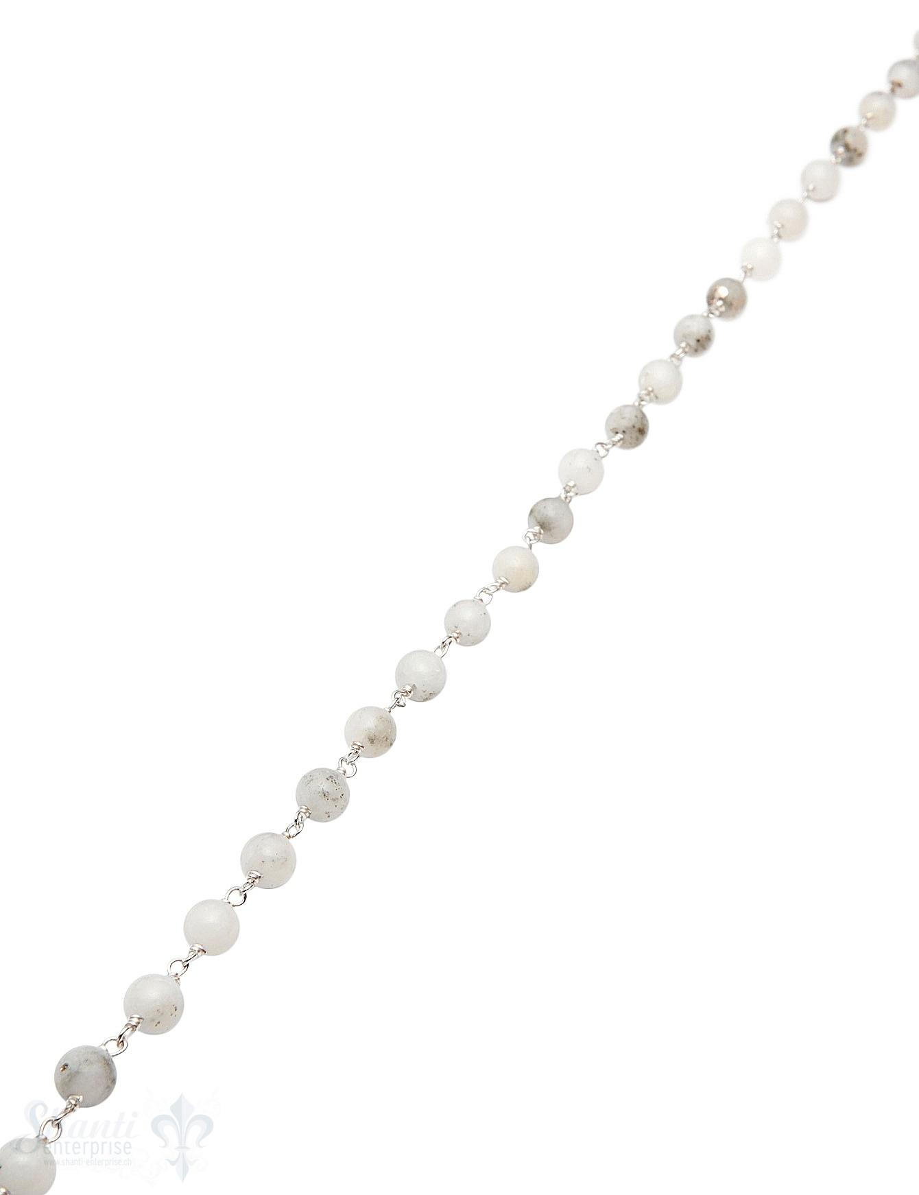 Rosenkranzkette Magnesit weiss poliert Silber  Abschnittlänge wird angepasst Preis per m