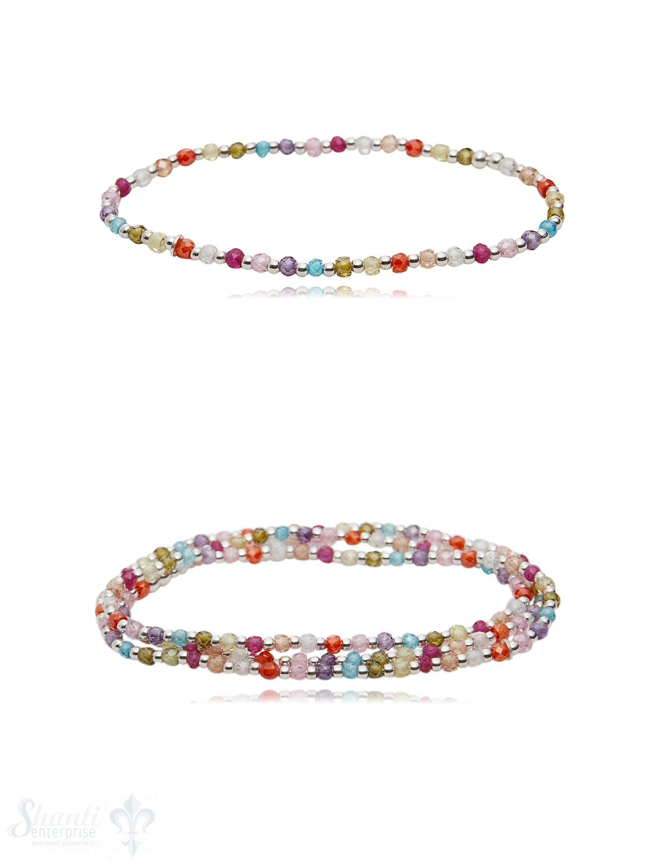 Zirkon Armband multicolor mit Silber auf Elast