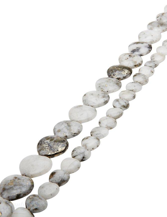 Granit-Pyrit Strang weiss-grau poliert Herzen AA
