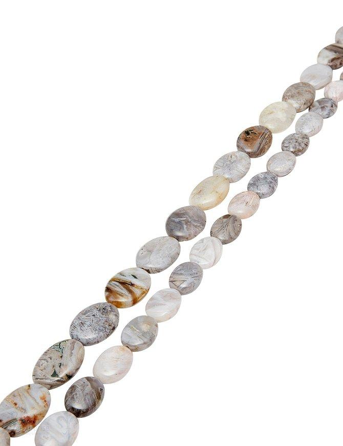 Fossilien-Jaspis Strang grau marmoriert poliert Oval flach 14x10 mm AA