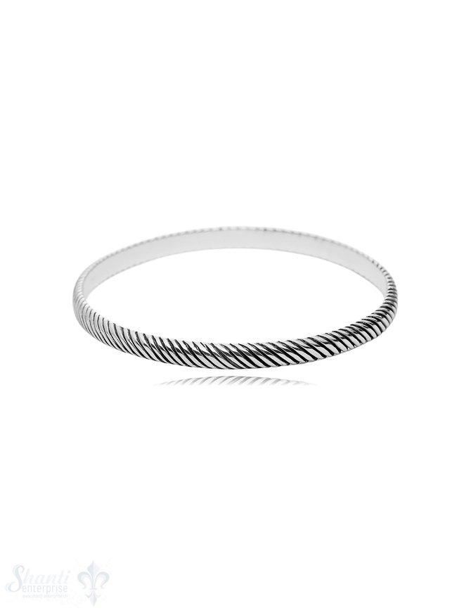 gerillter Armreif 5 mm breit geschwärzt halbrund massiv innen flach Silber Gr. 60 mm