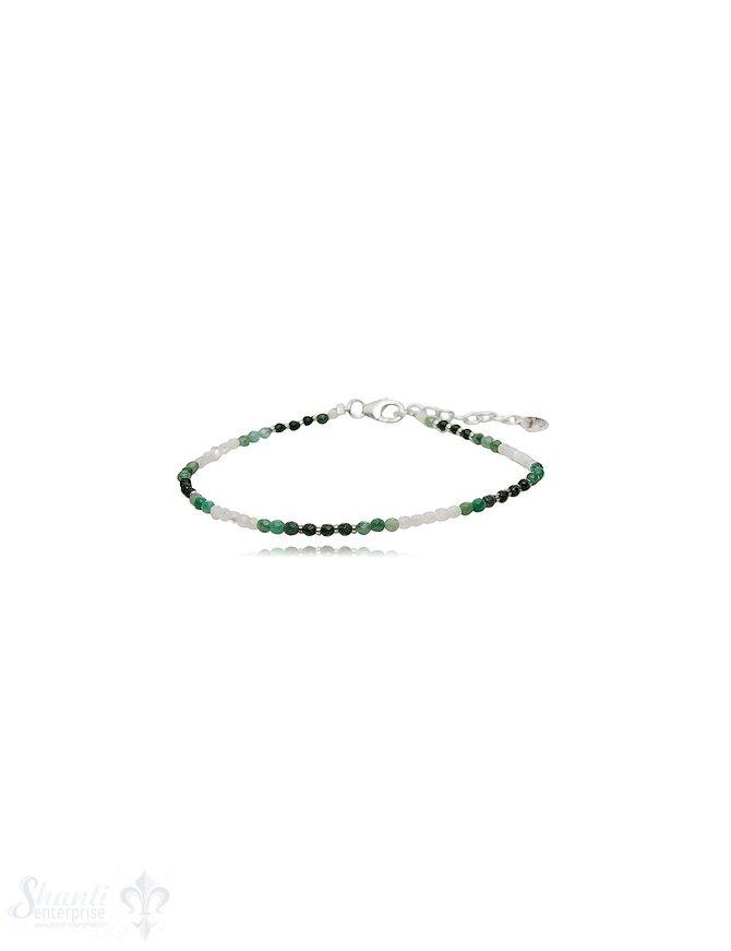 Armketteli mit Steinen Silber 2,5 mm breit verstellbar 17-19 cm
