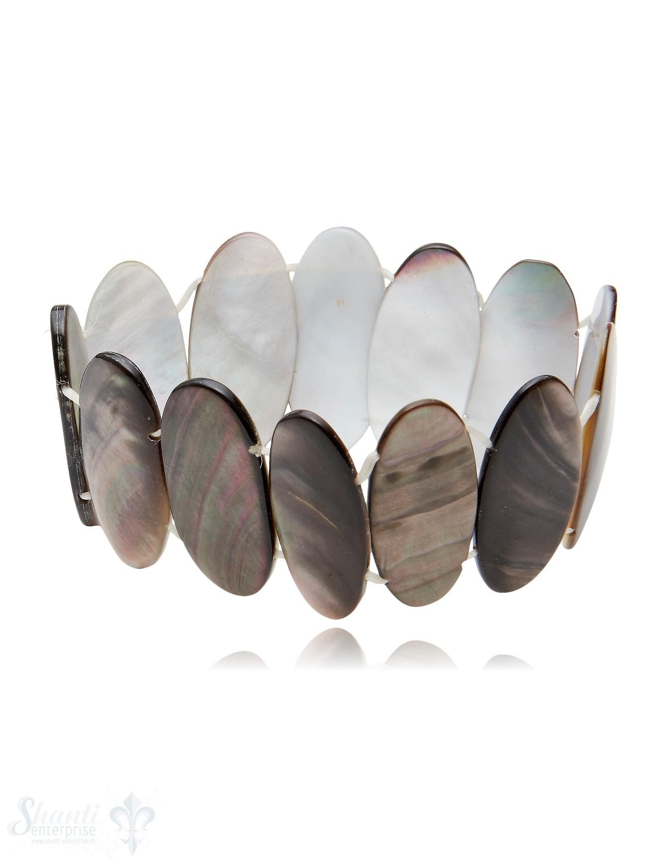 Perlmutt Armband braun Oval 30 x 13 mm