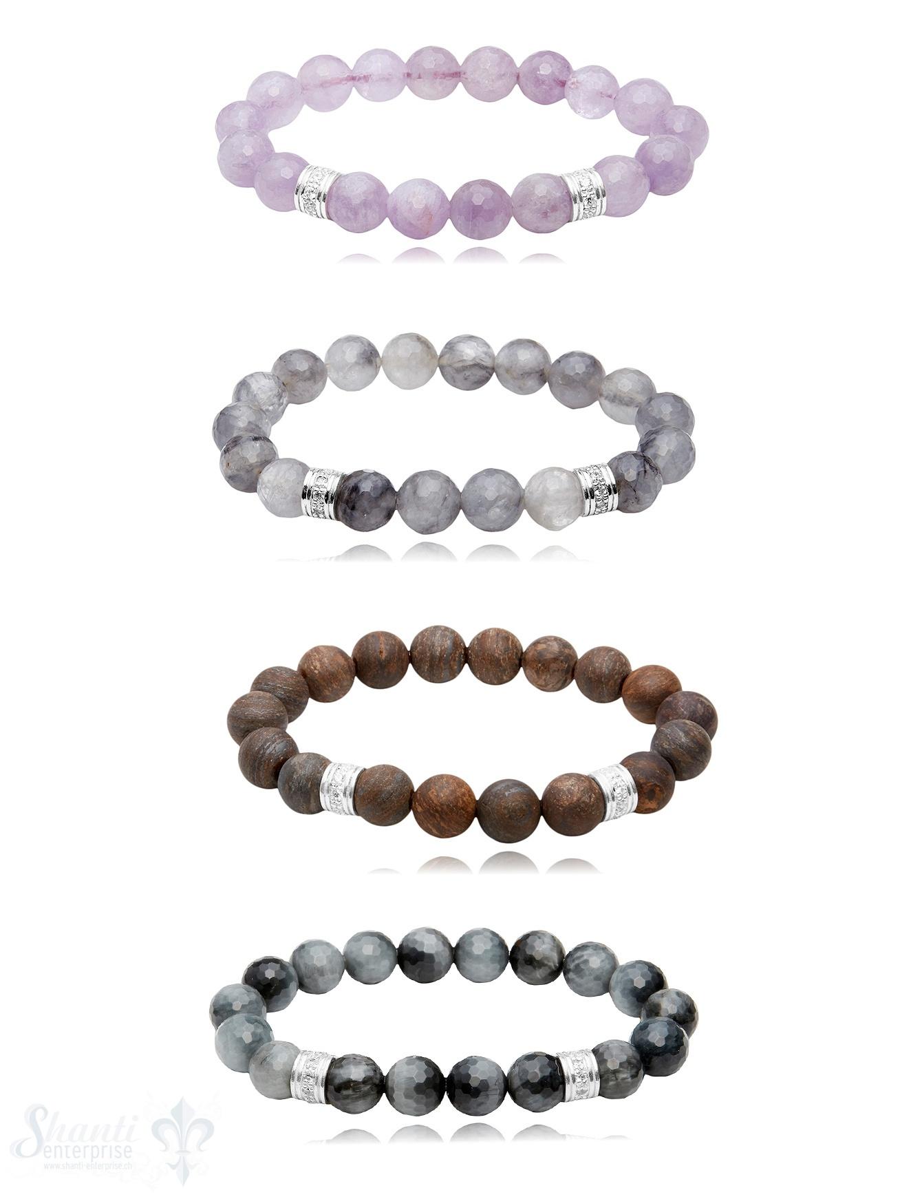 10 mm Edelstein Armbänder mit Zirkonia Silberteile auf Elastik