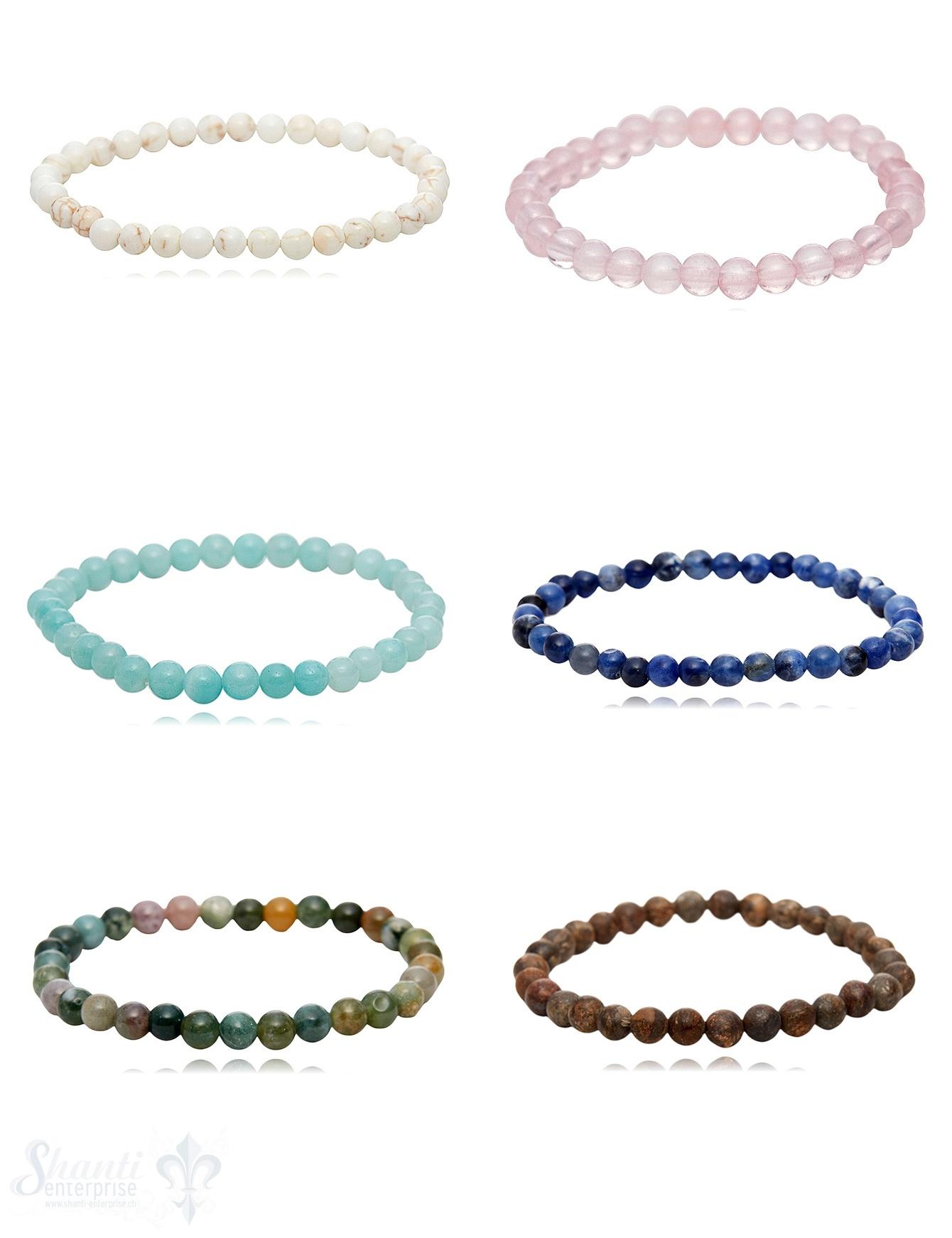 4 mm Edelstein Armbänder für Kinder auf Elastik