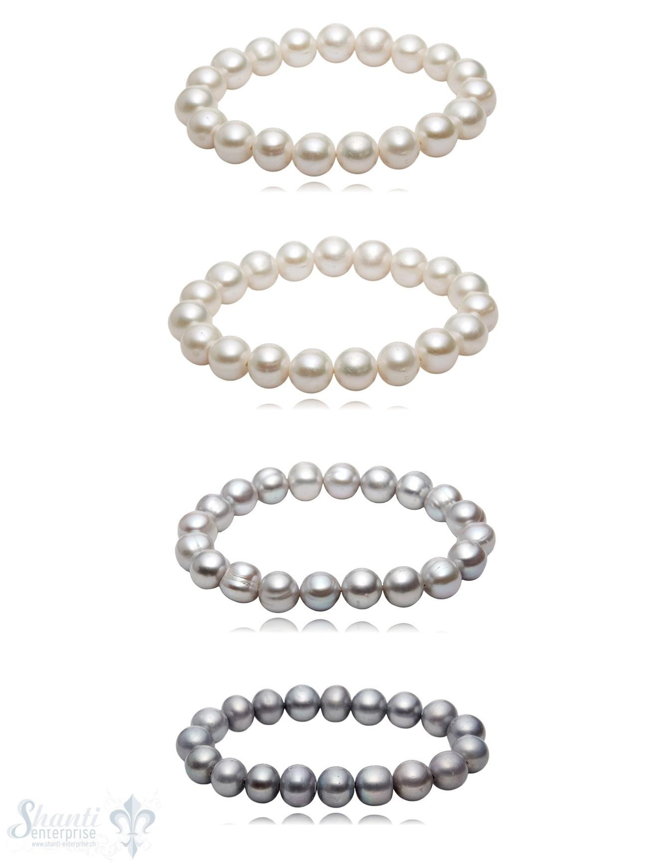 10-12 mm Perlen Armband barock auf Elastik 19 cm