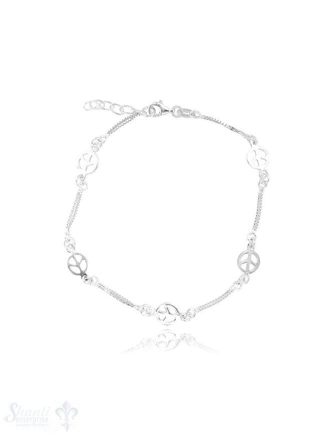 Fussketteli Peace-Zeichen 23-26 cm Silber hell Venezianer doppelt Grössen verstellbar mit Si-Kette