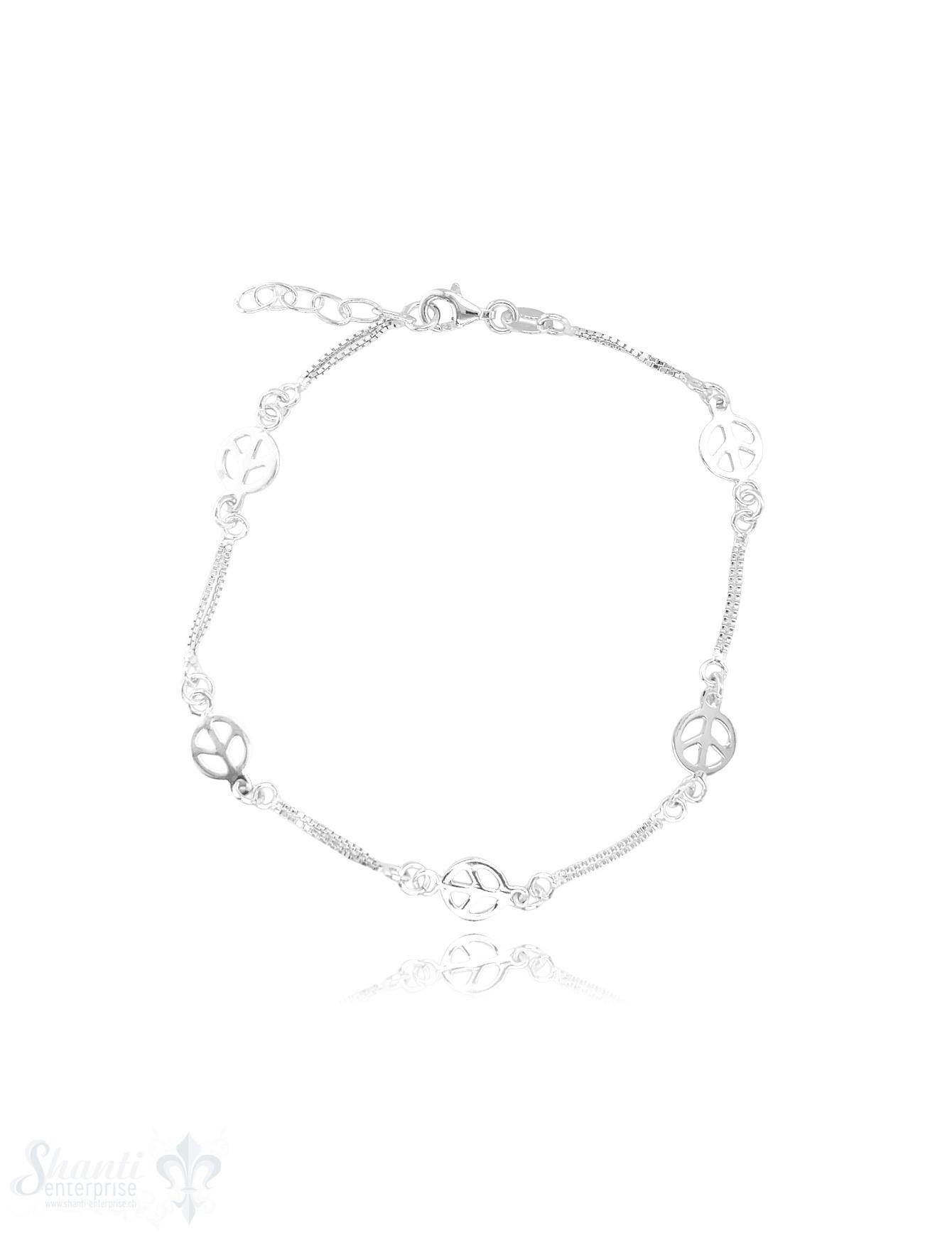 Fussketteli Peace-Zeichen 23-26 cm Silber hell