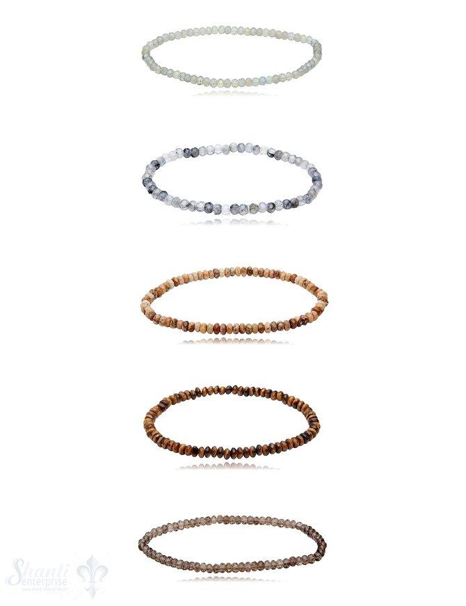 buttons 3.5-4 mm Edelstein Armbänder facettiert 18 cm auf Elastik