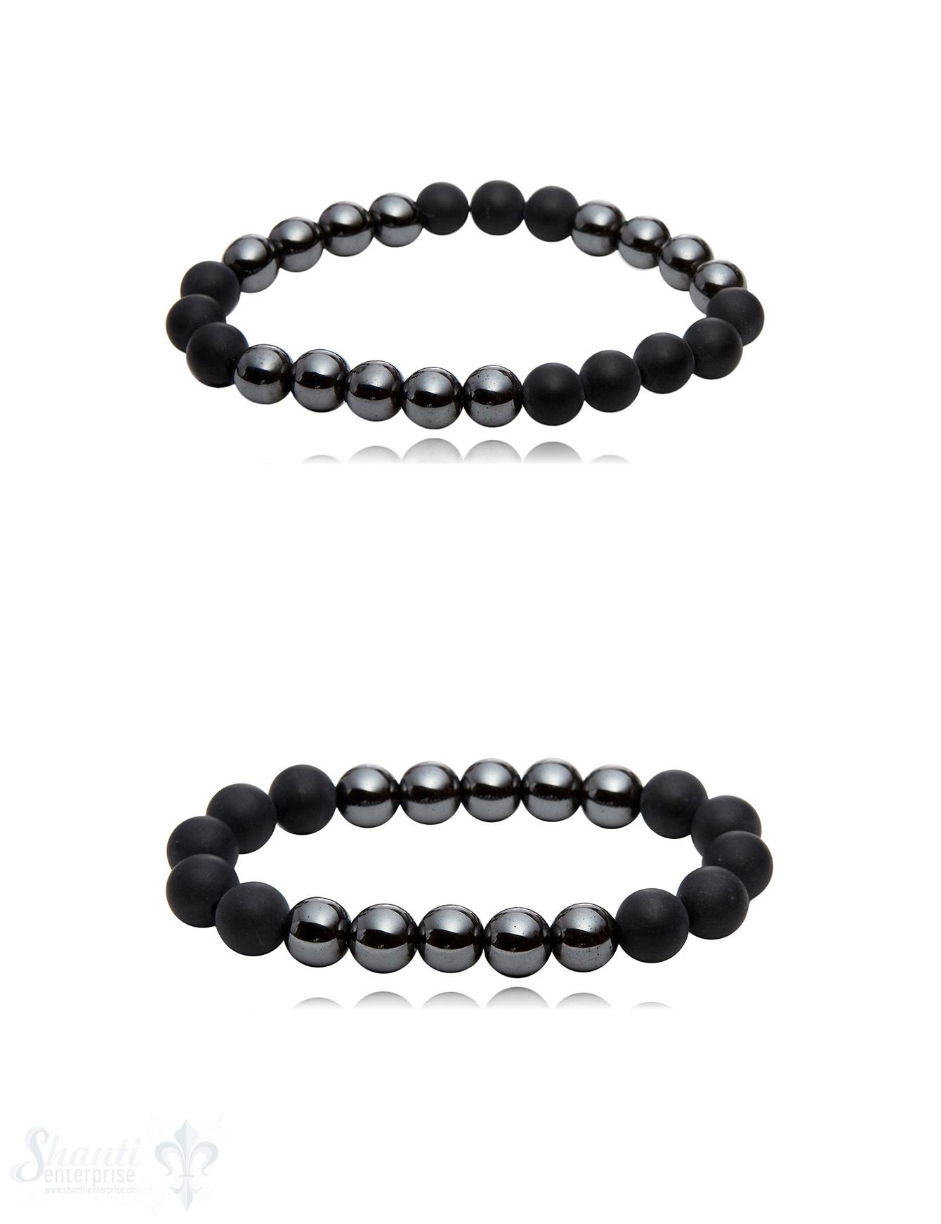 Onyx & Hämatit Armband poliert & matt auf Elastik 19 cm