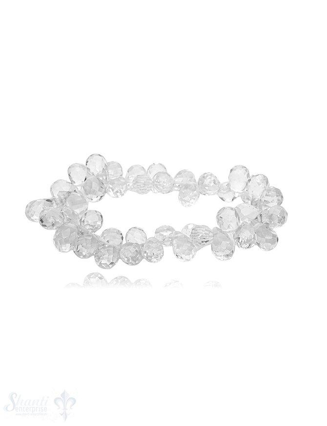 Bergkristall Briolett Armband auf Elastik Tropfen facettiert 17 cm